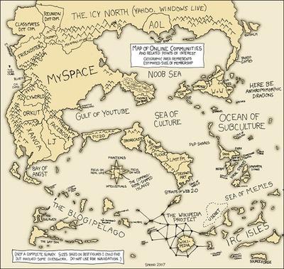 Boyd氏がスライドで示した「オンラインコミュニティマップ」。これら孤立した島をつなぐのがOpenSocialです。