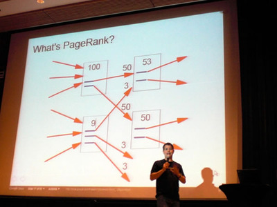 写真3 Googleページランクの仕組みを説明するマット・カッツ氏