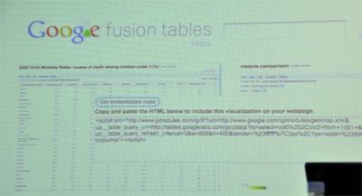 fusion tablesを使って,乳児の死亡率を国別にまとめたデータ,マラリヤの感染率,そして飲み水の品質のデータ,これらを合わせて相関させて新たなテーブルを作成した例。サブウィンドウで開いているのは「コードスミペット」というもので,これをコピーして自分Webなどに貼り付けることで,fusion tablesのデータをさらにシェアすることができます。