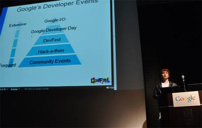 石原直樹氏のセッション。Googleの開発者イベントにおけるDevFestの位置づけは…