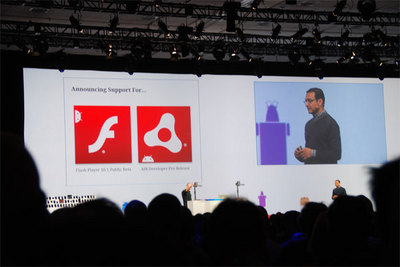 待望のFlash10.1対応だけでなくAIR環境の提供までアナウンスされた。