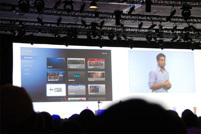 シニアプロダクトマネージャRishi Chandra氏によるGoogle TVの発表の模様