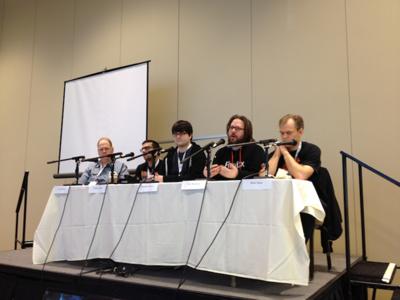 パネリスト(左から Jim Fulton,Tarek Ziade,Kenneth Reitz,Ian Bicking,Nate Aune)