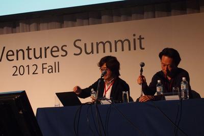 写真4 左側:NHN Japan代表取締役の森川氏。右側: DeNA代表取締役の守安氏