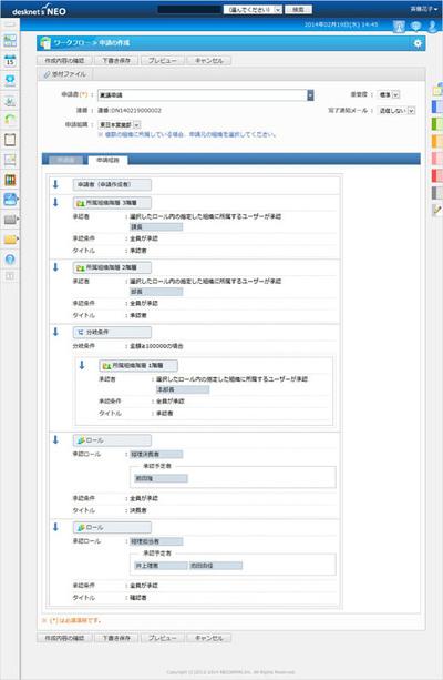 画面2 申請経路設定画面