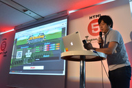 西田氏によるデモの模様。西田氏はFlash系のエンジニアだったそうです。今回の受賞者にはFlash系の開発者がほかにも何組かおられました