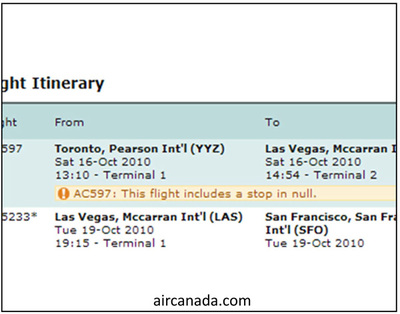 aircanada.comのサイトに表示されるエラーメッセージ
