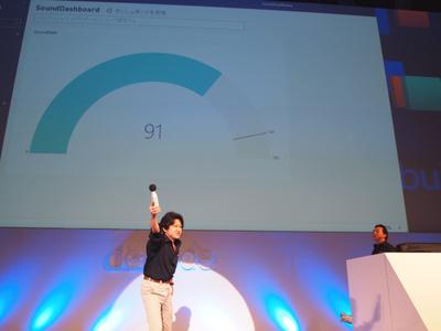 ブレイクタイムに登場した日本マイクロソフト高橋忍氏と安納 順一氏。次に登場するGiorgio Sardo氏の呼びかけを来場者に促し,その声量をPower BIで可視化するデモを行った