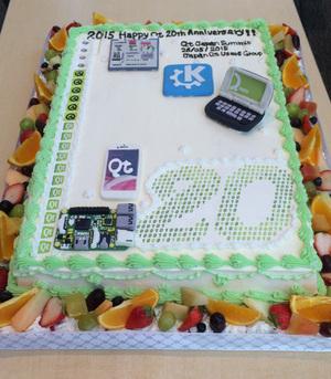 ユーザー会製のQt20周年ケーキ