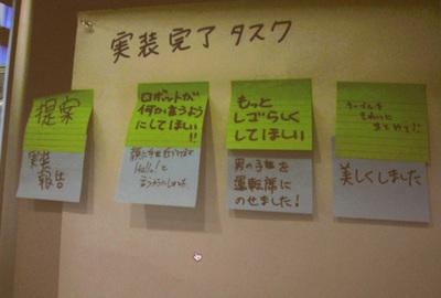 緑色の付箋に書かれたIssue(改善提案)に対して,下段の青色の付箋で実装報告している