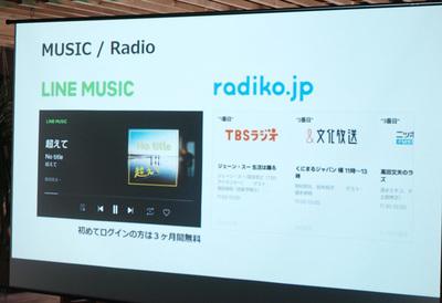 「LINE MUSIC」や「radiko.jp」との連携
