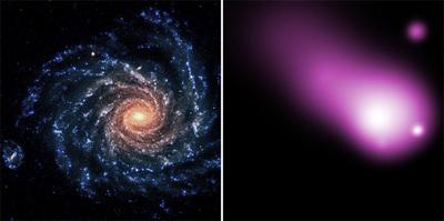 左がハッブルが撮影したNGC1232,右は同じ銀河をチャンドラで撮影したもの