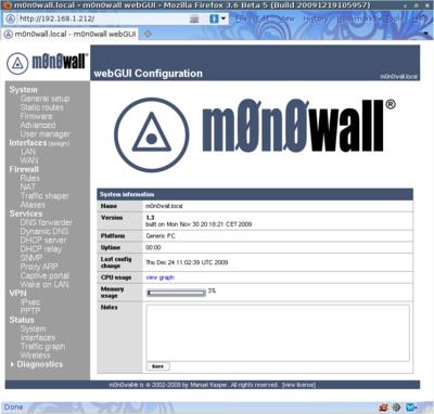 図2 m0n0wall 1.3実行例 - 最初に表示されるWebインターフェース