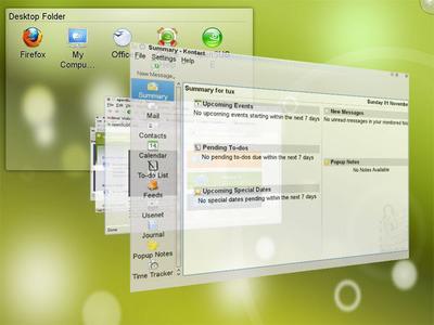 KDE上でCompizの3D効果も利用可能