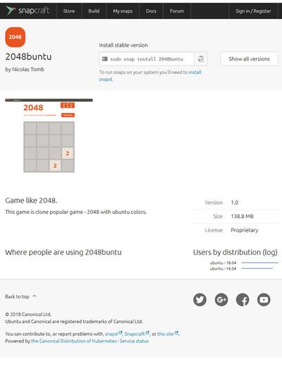 問題となったSnapcraft Storeの「2048buntu」,現在は削除されている