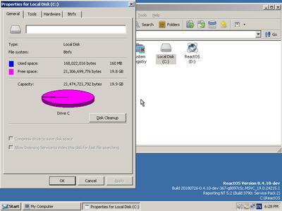 ReactOSの画面,Btrfsが起動ドライブとなっている(extravert34's blogより)