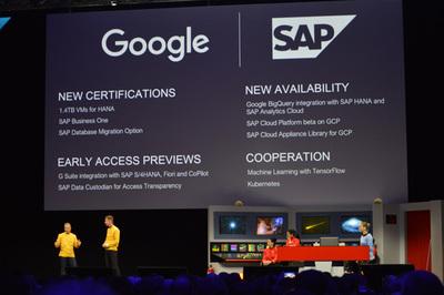 Google Cloudが2017年にエンタープライズで大きく飛躍した理由のひとつがSAPとの提携強化。とくにHANAがGoogle Cloudでも利用可能になったことはエンタープライズ市場に大きなインパクトを与えた。11月にバルセロナで行われた「SAP TechEd」にはGoogle Cloudのブライアン・スティーブンス氏(左端)がゲストで登壇,クラウドビジネスにおける両者のタイトなパートナーシップを強調している