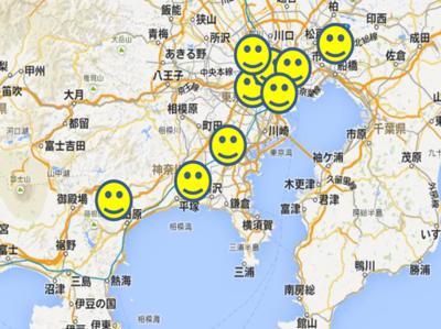 図4 CONBUメンバの分散っぷり(地図データ©Google)