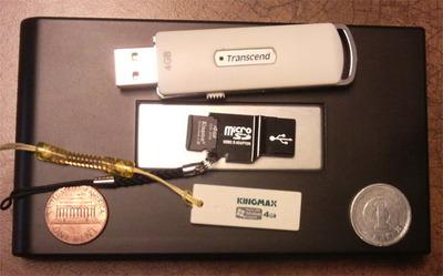図1 USBストレージデバイス。容量は全部合わせて512Gバイト!