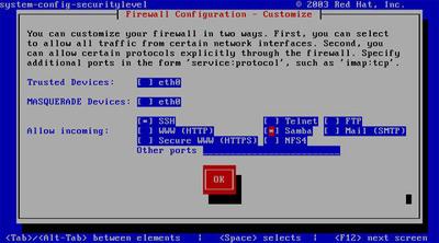 図2 system-config-securitylevel-tuiの画面