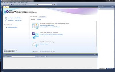 図1 Visual Web Developer 2010 Expressのスタート画面