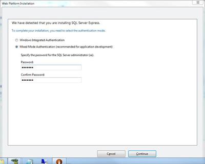 図5 SQL Server Expressの認証モード確認画面