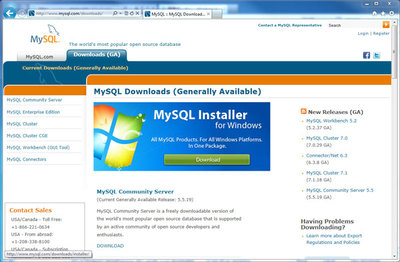 図1 MySQLのダウンロードサイト