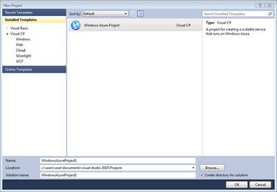図1 Visual Web Developer 2010 Expressで,Windows Azure Projectを作成