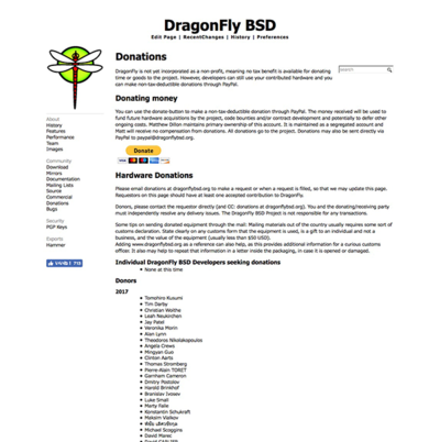 Donations DragonFly BSD