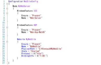 図2 PowerShell DSCでIISの状態をコードとして記述している例