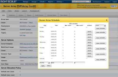 RightScale Cloud Management Platformの設定画面。オートスケールの柔軟な設定が可能
