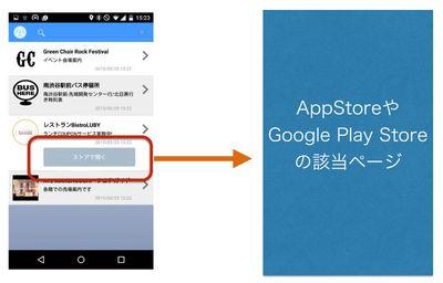 図3 該当のネイティブアプリがインストールされていなければ「ストアで開く」ボタンを用意