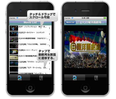 図1 動画選択画面と動画再生画面のイメージ図
