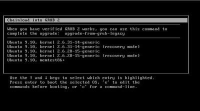 図5 GRUB LegacyからGRUB 2を呼び出すようになっているのがわかる