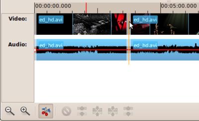 図4 Razorを選択してから動画の該当部分をクリックして分割