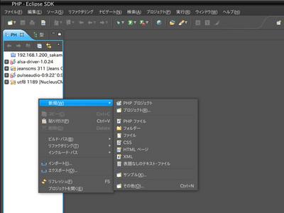 図9 プロジェクトの作成画面。「PHP」パースペクティブ上のビューからメニューを表示している