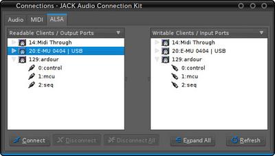 図1 QjackctlのConnectウィンドウ