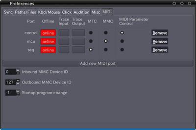 図2 ArdourのMIDIポート設定画面