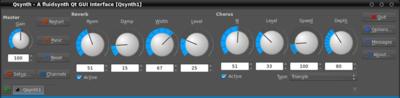 図1 QSynthの操作画面