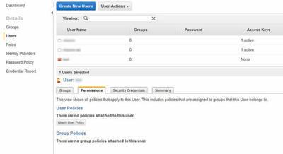 図3 「Permissions」タブ内の「Attach User Policy」をクリックする