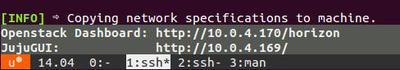 図2 OpenStack DashboardのURIとJuju GUIのURI