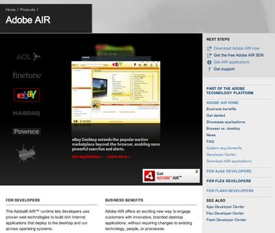 Adobe AIRの製品ページ