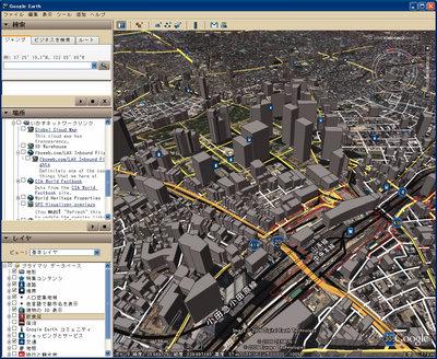 図3 3D化された東京と各種レイヤ