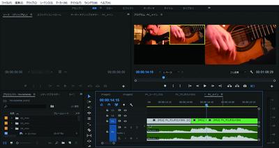 Premiere Proの画面。右上のモニターでスイッチング編集しています