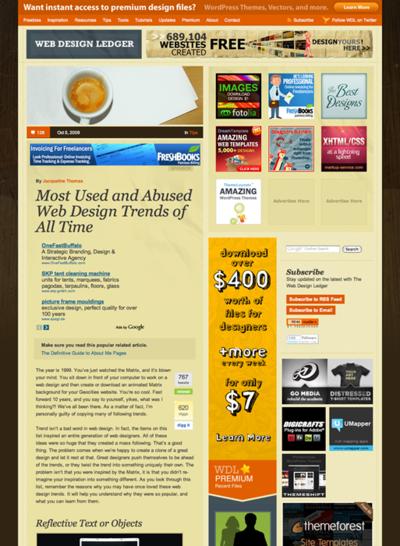 図1 さんざん乱用されたWebデザインのトレンドの紹介