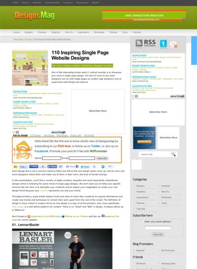 図5 シングルページWebデザインのショーケース