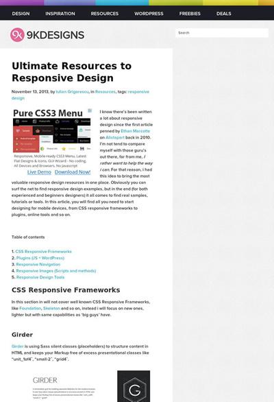 図1 レスポンシブWebデザインに関する素材や情報源のまとめ