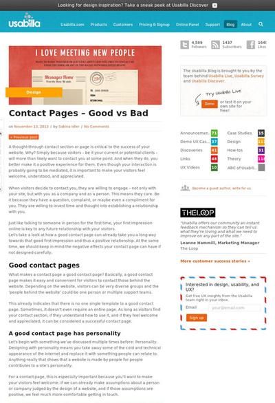 図1 問い合わせページの良い例と悪い例