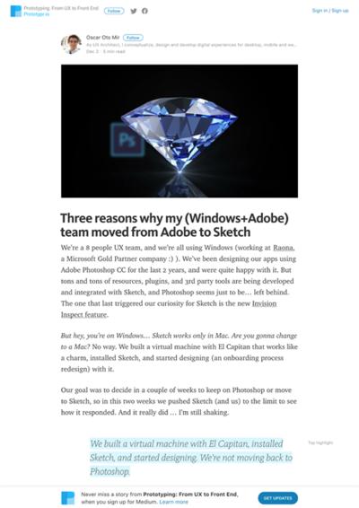 図4 Adobe PhotoshopからSketchに移行した理由