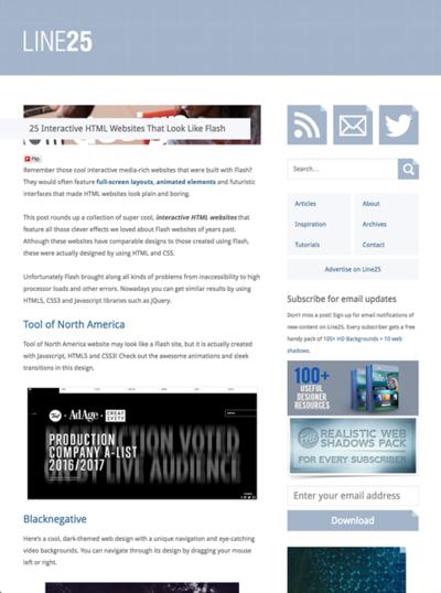 図5 インタラクティブなウェブサイトのギャラリー